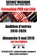 Audition d'entrée 2019-2020, Formation PRO (chant-comédie musicale)
