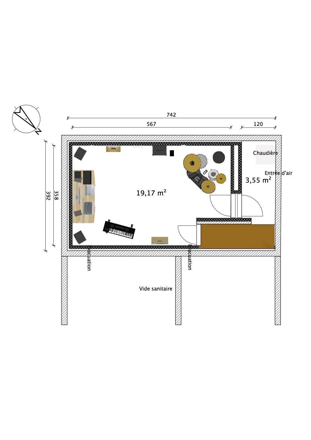construction local r petition home studio dans sous sol. Black Bedroom Furniture Sets. Home Design Ideas