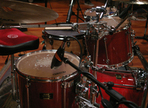 Vorbereitung für eine Schlagzeug Recording Session