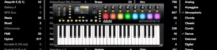 audiofanzine reviews the akai advance 49 keyboard controller. Black Bedroom Furniture Sets. Home Design Ideas