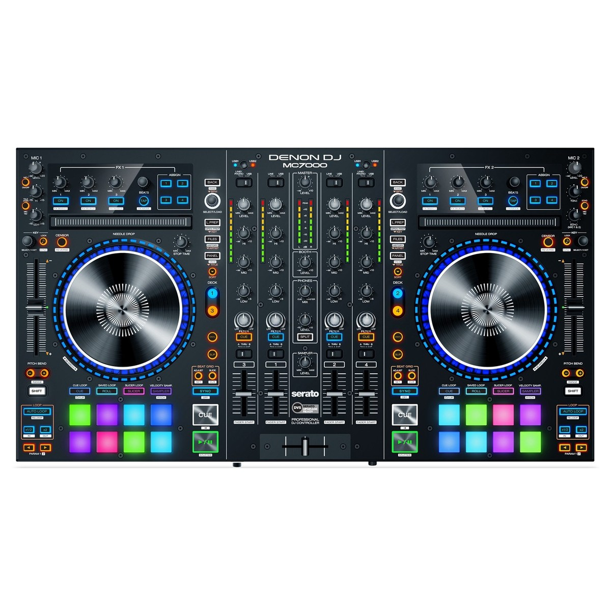 contr leur dj denon mc7000 4 canaux avec 2 interfaces audio logiciel de mix serato dj. Black Bedroom Furniture Sets. Home Design Ideas