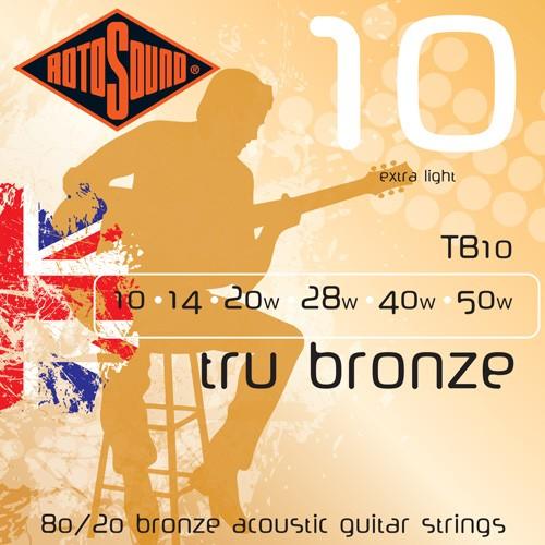 Rotosound TB10 tru bronze extra light acoustic guitar strings