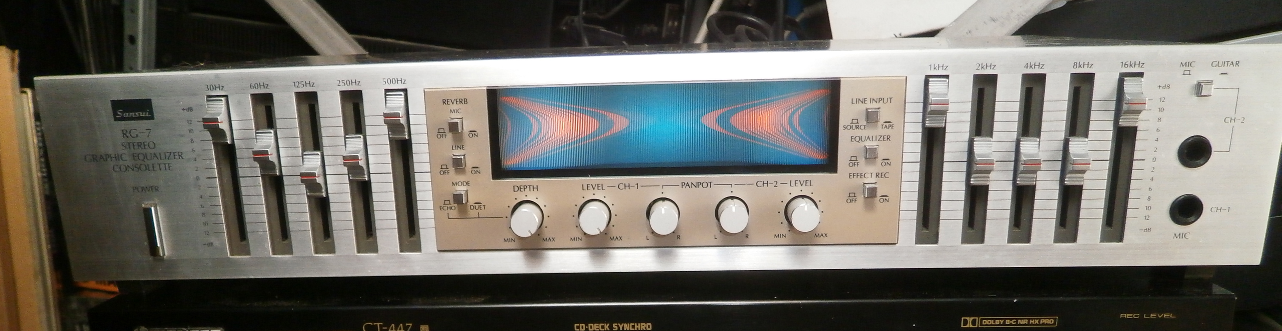 sansui rg 7 stereo graphic equalzier consolette image 1550808 rh en audiofanzine com Digital Baby Grand Player Piano RG7 Coax