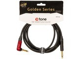 X-Tone Golden Instrument Cable Right Angle Silent Plug X3071