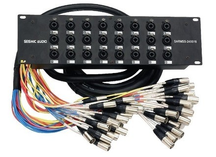 Seismic Industries SARMSS-24x515 - 24 Channel XLR TRS Combo Splitter Snake Cable - 5' and 15' XLR trunks
