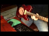 Harley Benton TE-90QM trans red thin line Telecaster style