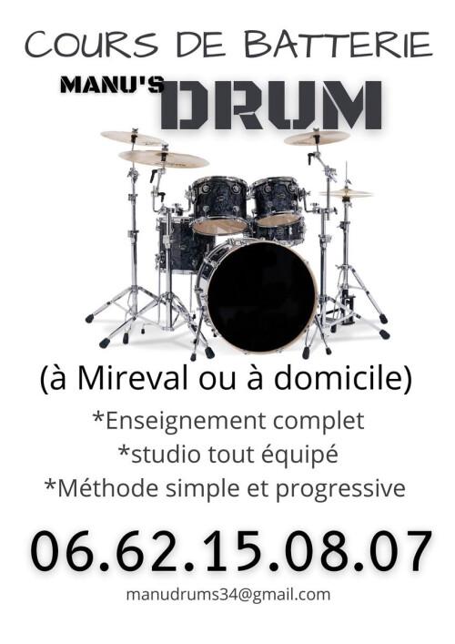 Cours de Batterie à Mireval (34110)+à domicile (Montpellier/Sète)