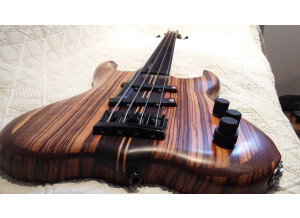 Luthier Pendennis fretless 4 zebrano