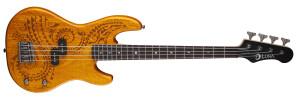 Luna Guitars Tattoo Electric Short Scale Bass Mahogany